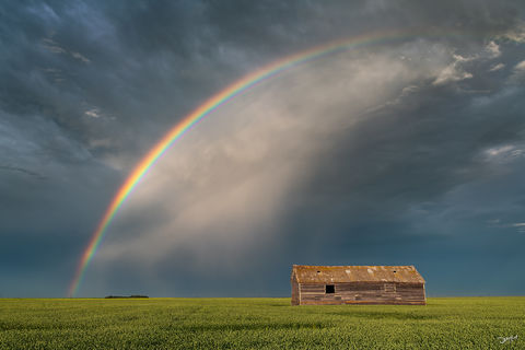 living skies, rainbow, saskatchewan, thunderstorm