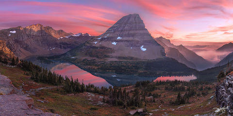 bearhat, mountain, sunset, hidden lake