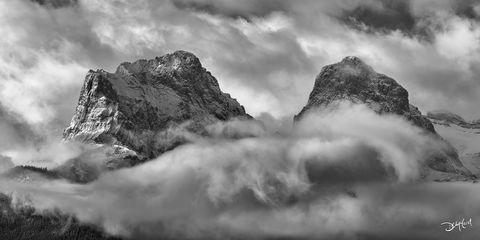 three sisters, canmore, alberta, clouds, mountains, peaks