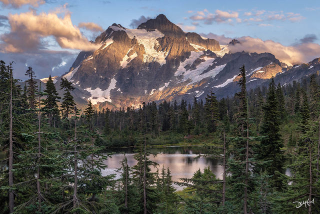 mount shuksan, north cascades, washington, usa, sunset, soft light, mountain, peaks