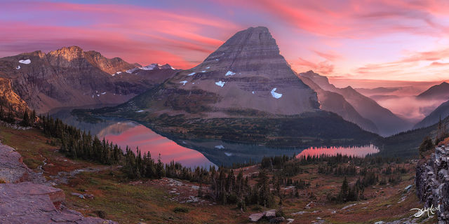 bearhat mountain, hidden lake, glacier national park, montana, usa, beauty, clouds, colour, reflecting, glow