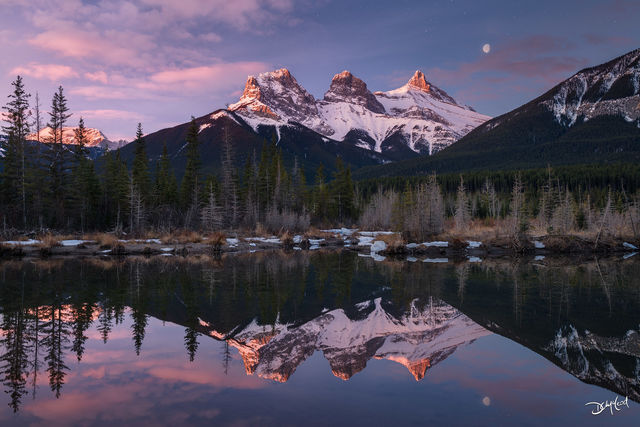 three sisters, canmore, alberta, reflection, mountain, sunrise