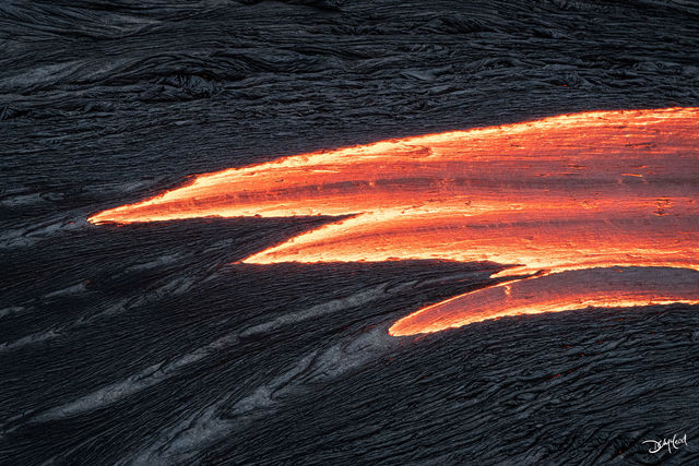 the race, east rift zone, hawaii, flowing lava, orange,