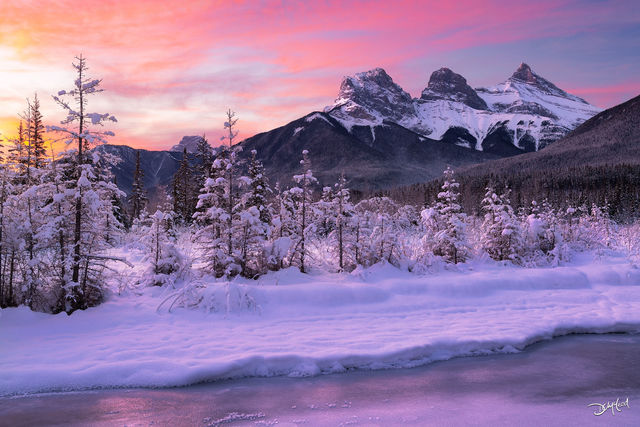 winter wonderland, three sisters, canmore, alberta, canada, frozen, creek, ice, snow, colors, landscape, limited edition