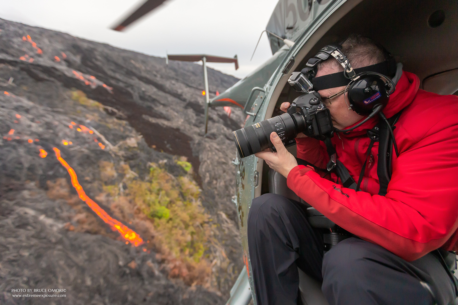 dean, helicopter, hawaii, lava, photo