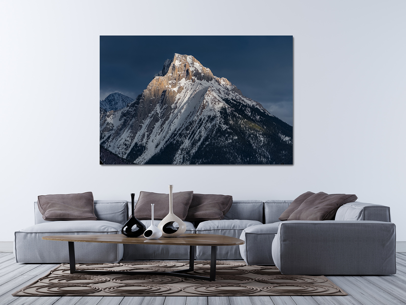 poster, modern, blank, wall, living room, corner sofa, mock up, 3D rendering, 3D illustration, sofa, contemporary, floor, home...