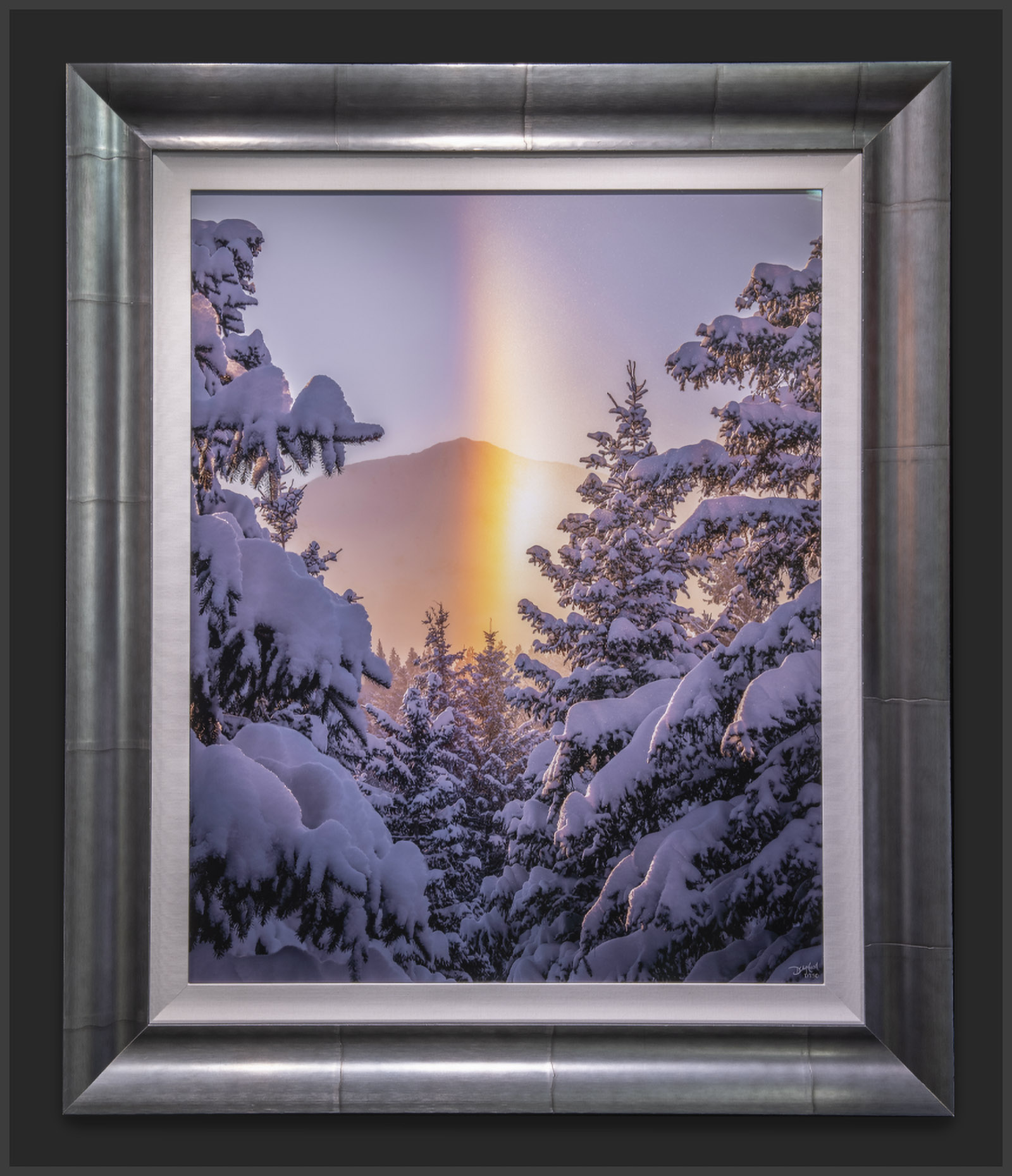 Lumachrome acrylic face-mount print of a winter scene framed with an Omega Light Aluminum Scoop wooden frame and white linen liner.