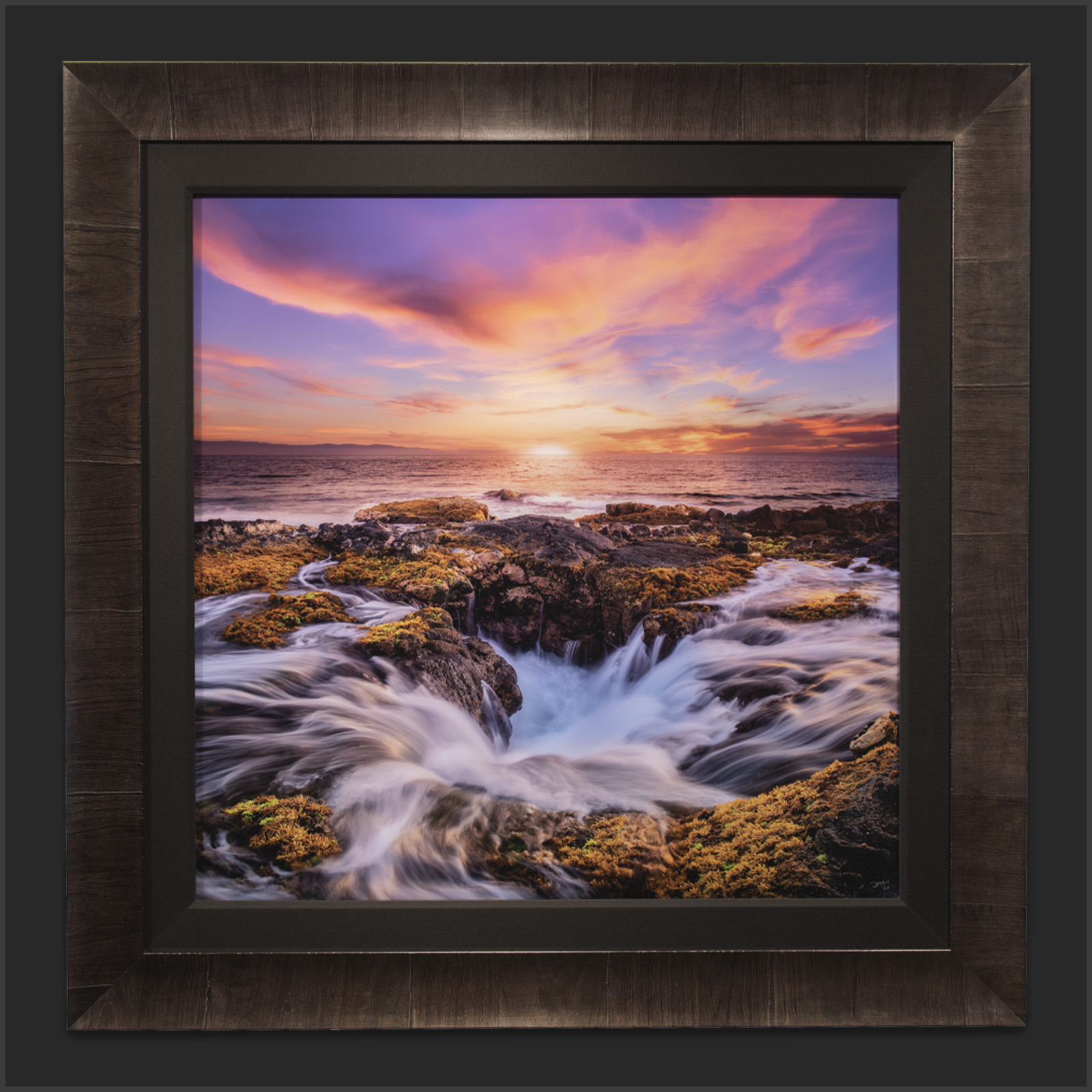 Lumachrome acrylic face-mount print of a Hawaiian sunset with a Roma Tabacchino dark ash frame and black linen liner.