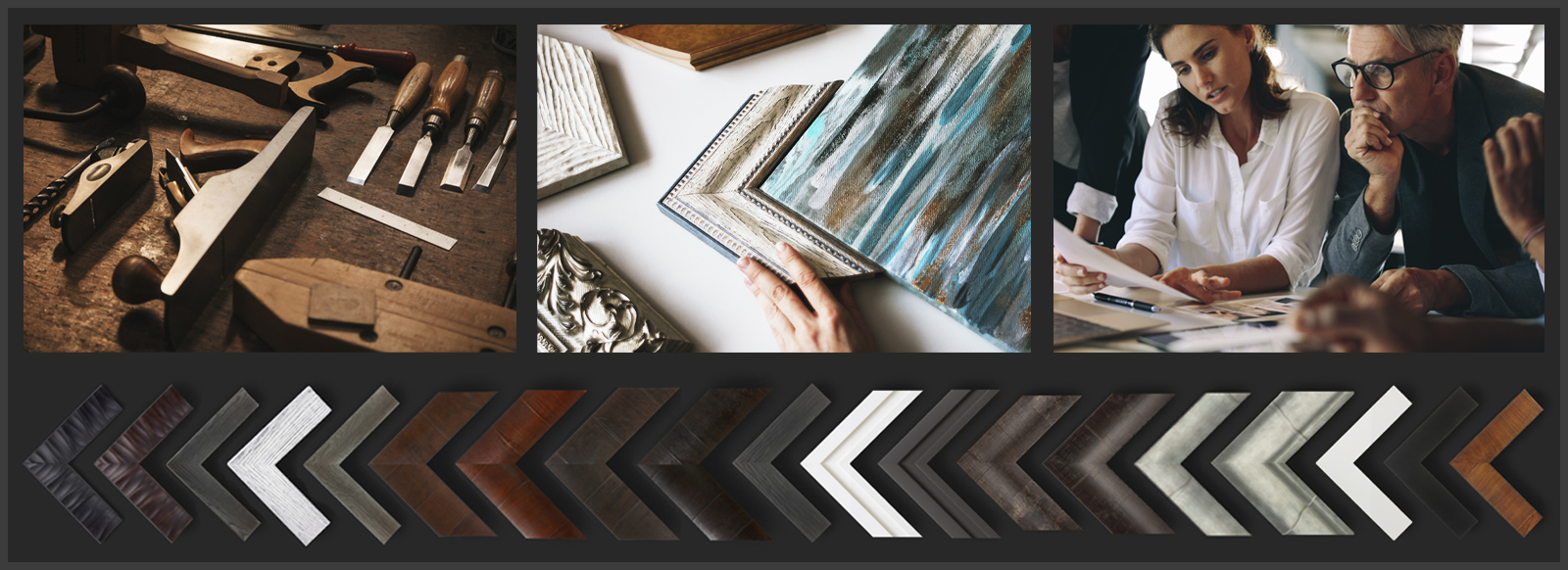 Collage of woodworking tools, people and picture frame samples for custom photo framing.