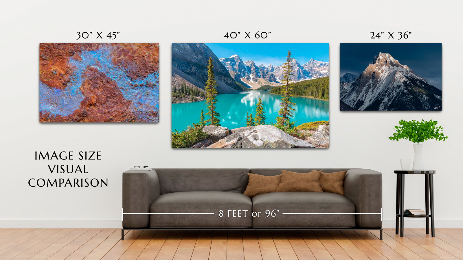 Diagram with measurements of three different sized photos hanging over sofa to visualize size comparison before purchasing.
