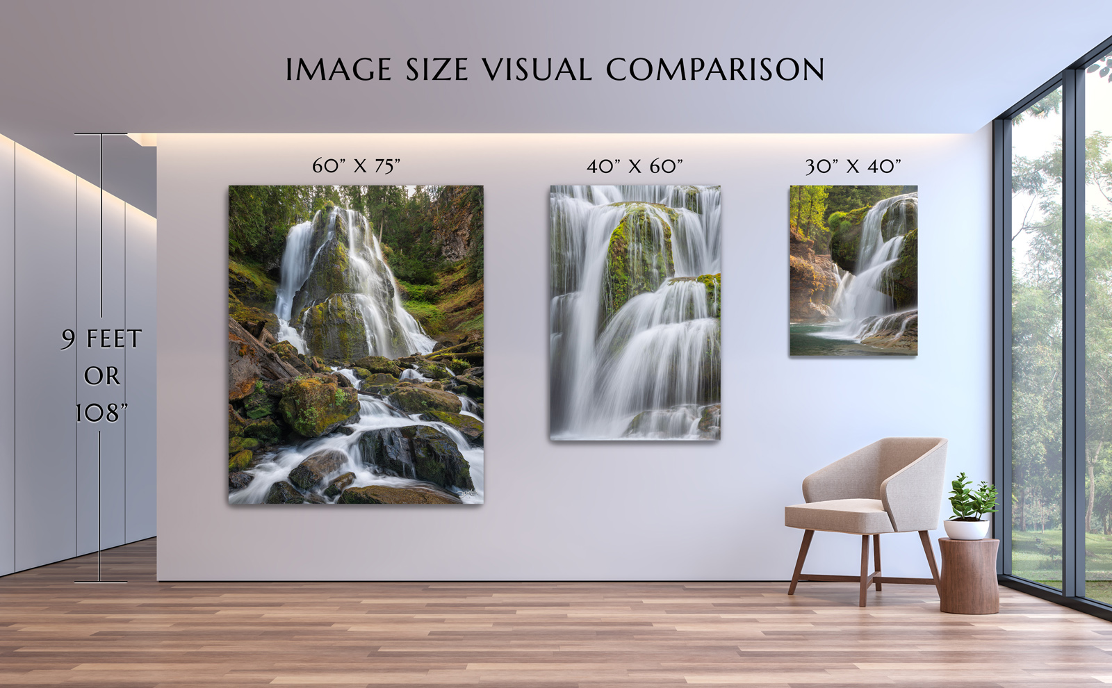 Diagram of three different sized nature photos on wall with measurements to visualize before purchasing.