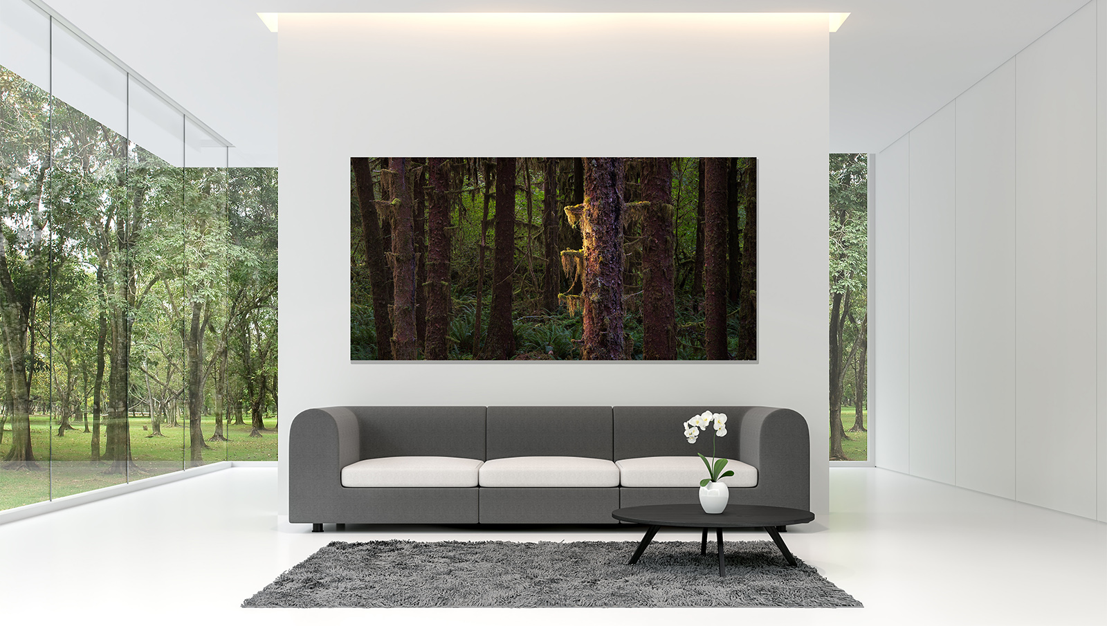 Minimal living room with white backdrop 3d rendering image.A whi