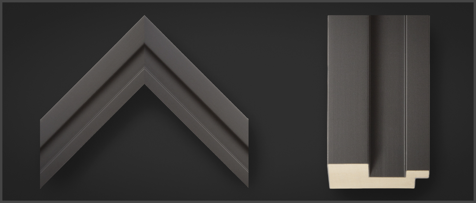 Corner sample of an Omega Edge Matte Black wooden picture frame, stock #84178.