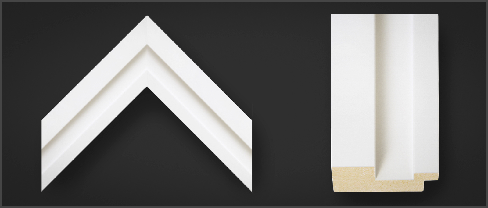 Corner sample of an Omega Edge Matte White wooden picture frame, stock #84179.