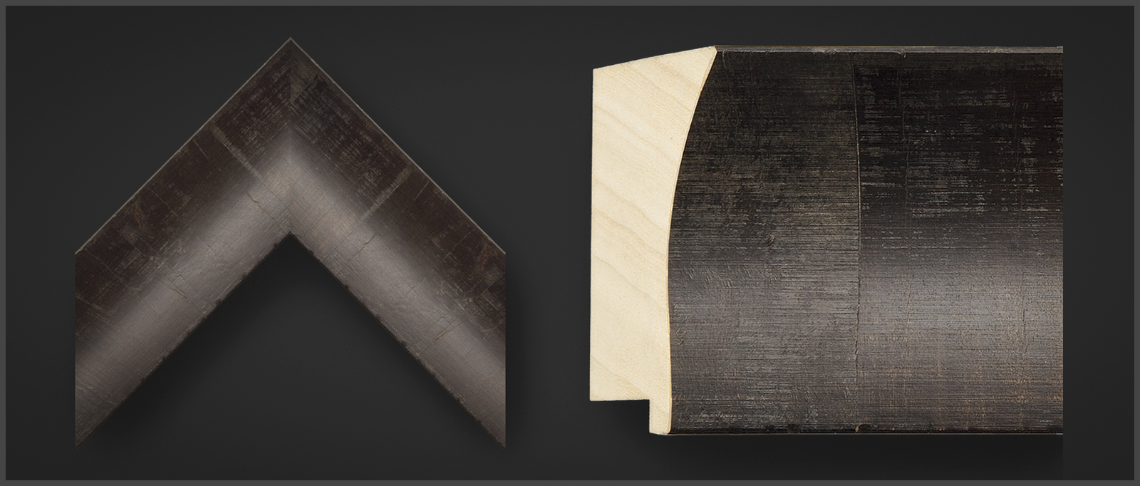 Corner sample of an Omega Forletti Wenge Olive Veneer wooden picture frame, stock #83633.