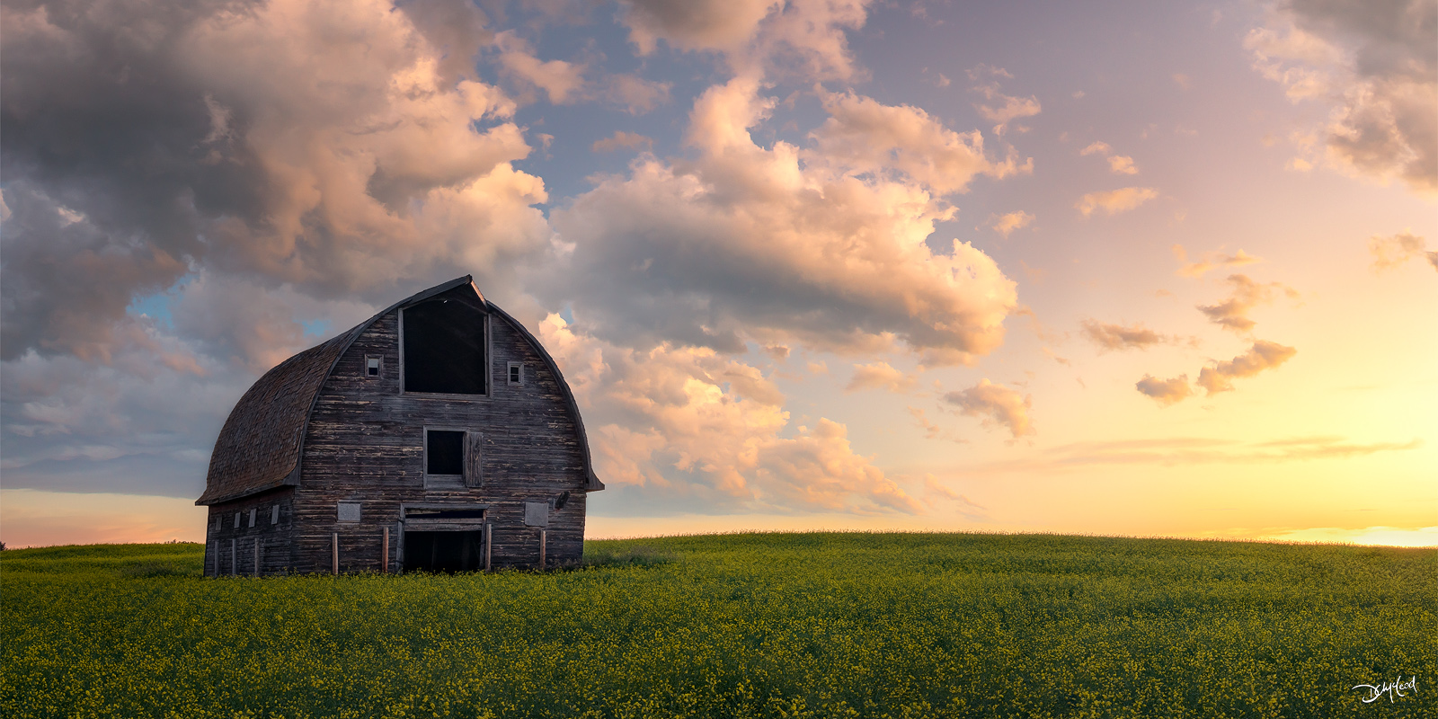 Old barn in a prairie field during a colorful sunrise with puffy clouds near Turtleford, SK.