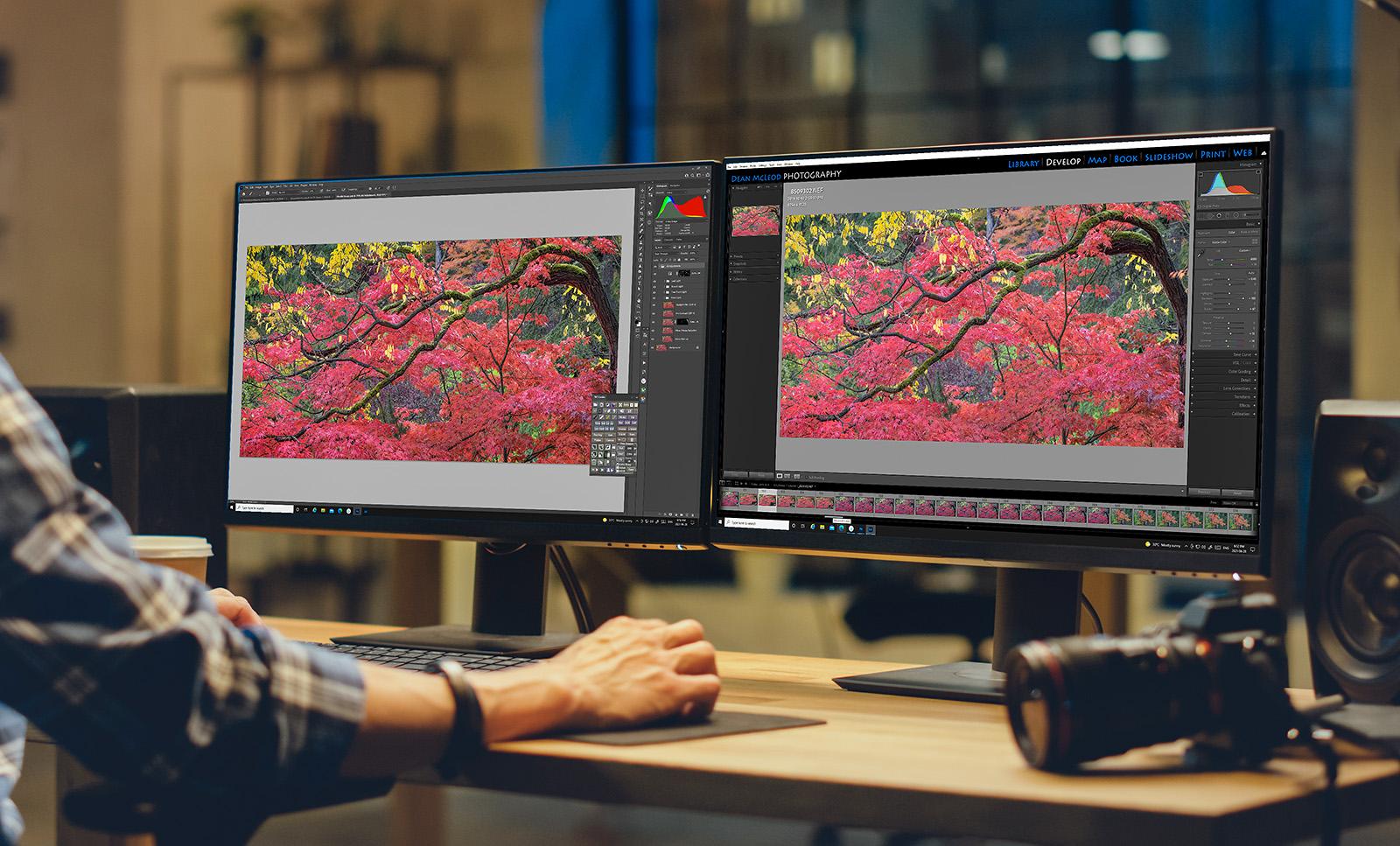Processing an image using dual monitors and editing software.