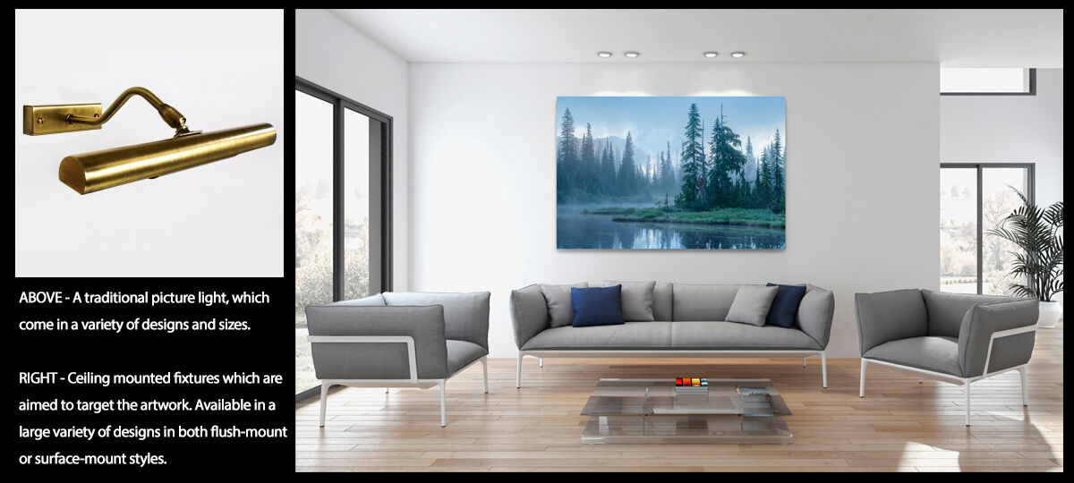Two pictures showing traditional picture light fixtures versus fixed ceiling mounted lights for wall art.