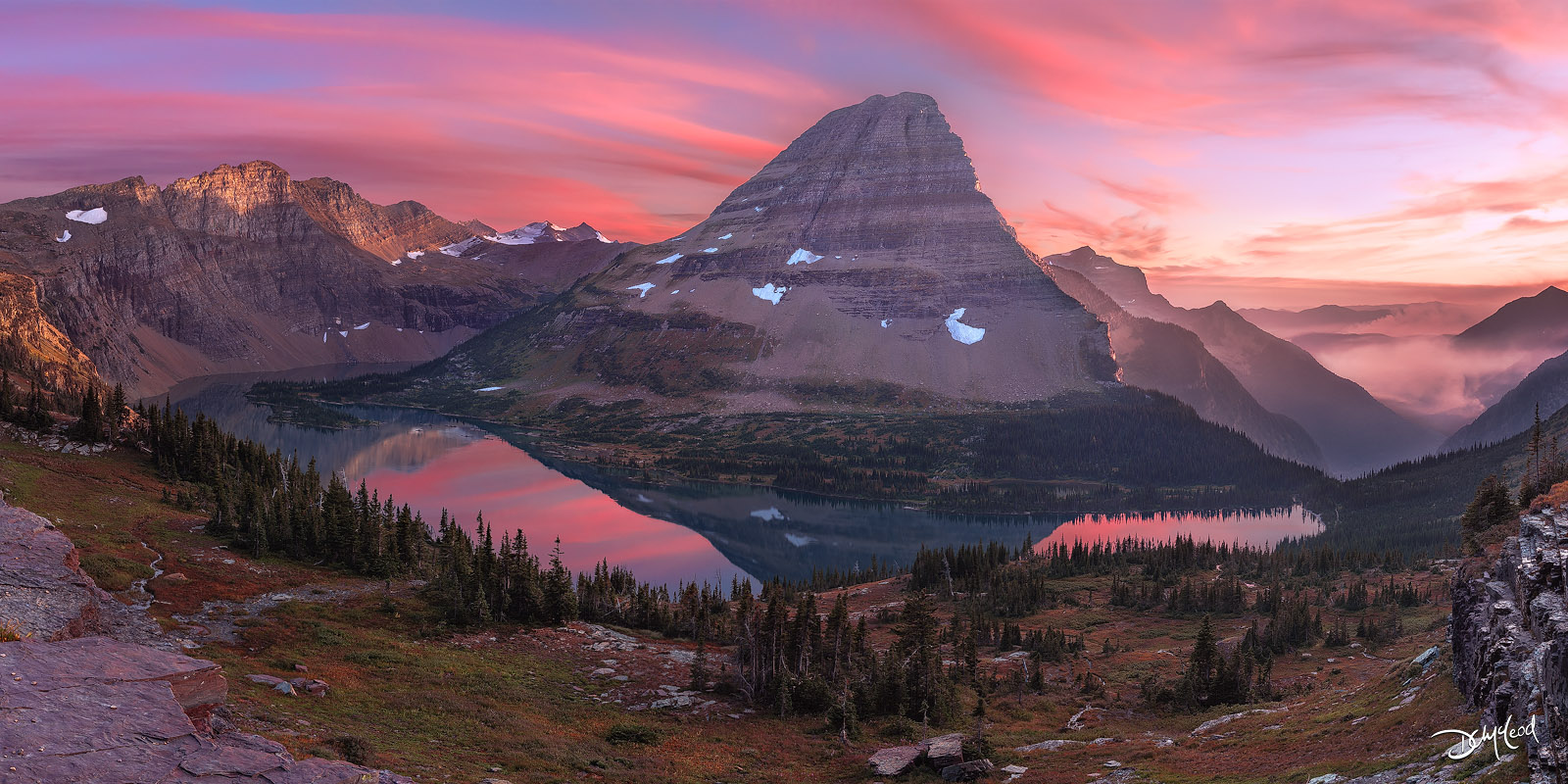 bearhat mountain, sunset, hidden lake, photo