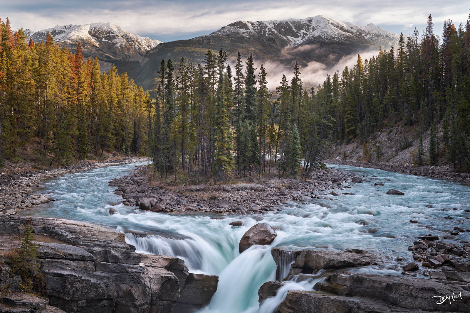 sunwapta falls, jasper national park, river, photo