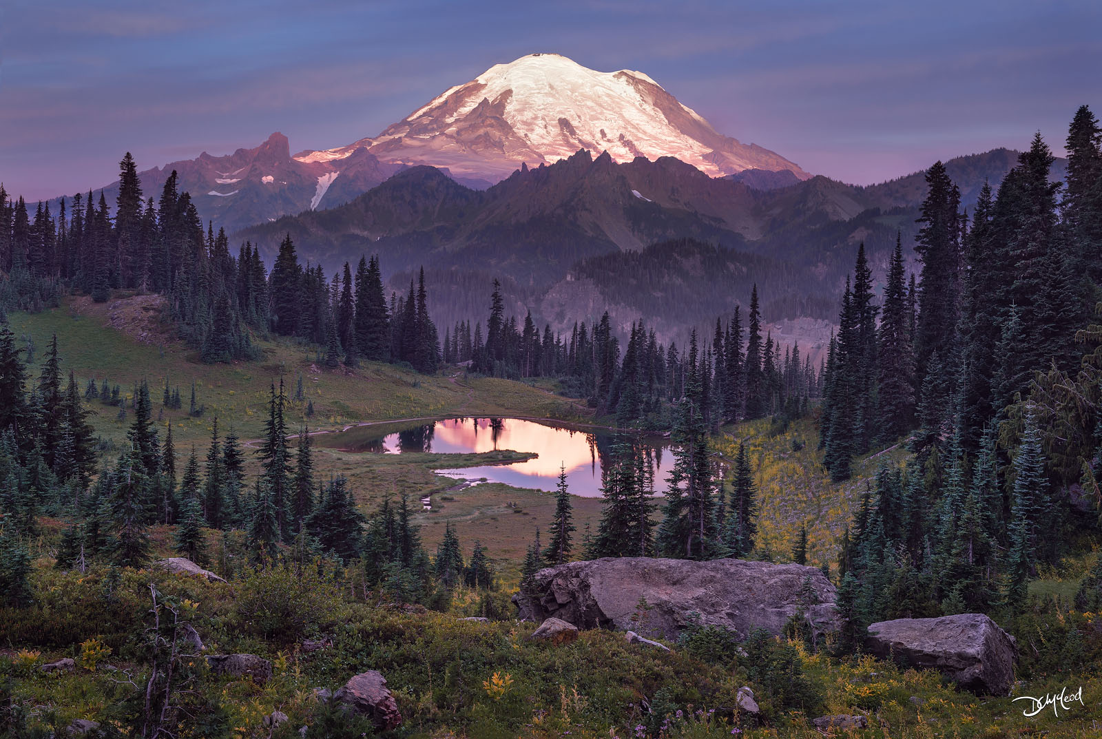 The peak of Mount Rainier in Washington glows at sunrise with its reflection in a small lake surrounded by spruce trees.