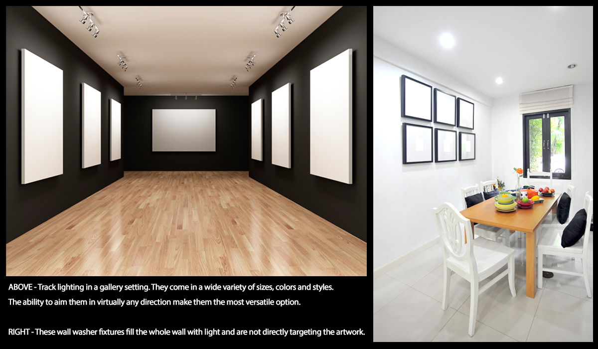 Two picture diagram showing track lighting fixtures versus wall washer light fixtures for wall art.
