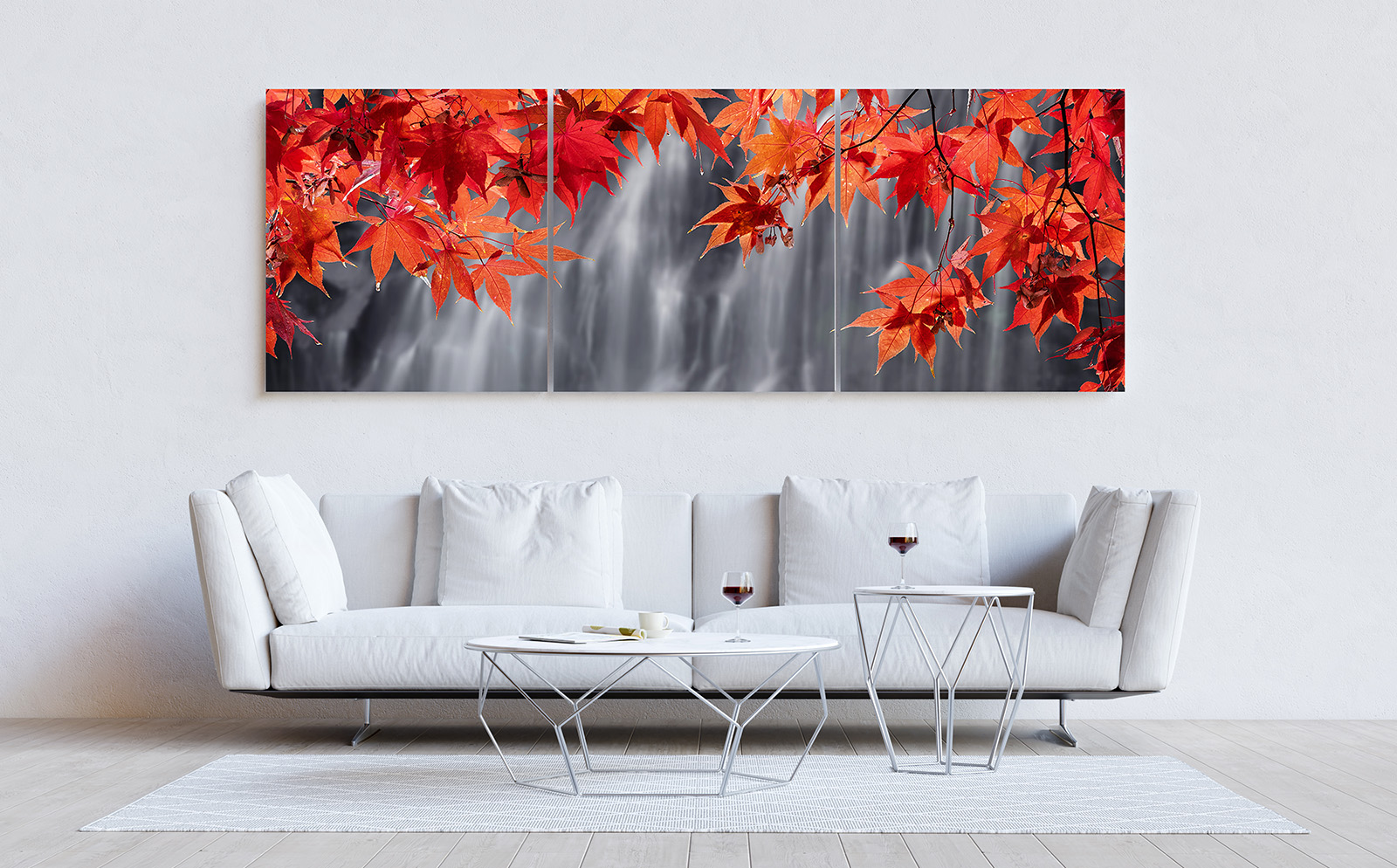 White living room with couch, table and mockup pictures. 3D rend